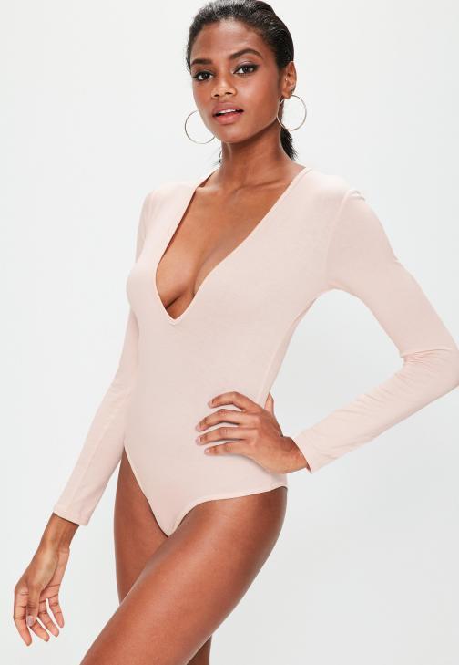 nude-long-sleeved-v-neck-bodysuit