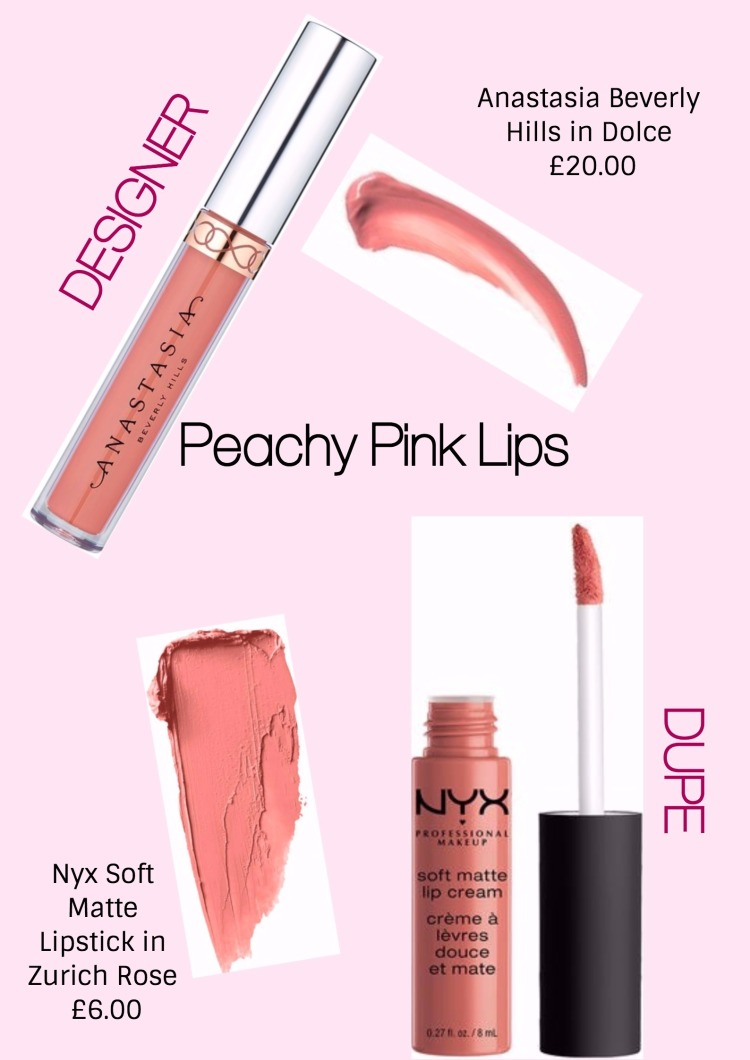 PEACHY PINK lips designer and dupe