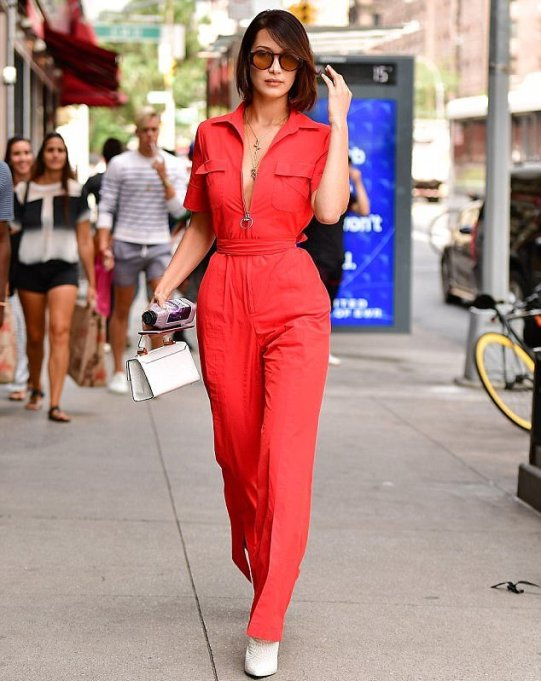 Celine Callow Bella-Hadid-Spotted-Wearing-A-Sexy-Scarlet-Jumpsuit-In-NYC-KOKOTV
